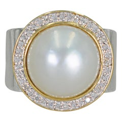 Mabe Pearl Diamond Halo Two-Tone Cocktail Ring