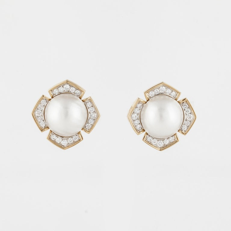 Women's or Men's Mabe' Pearl Diamond Yellow Gold Earrings For Sale