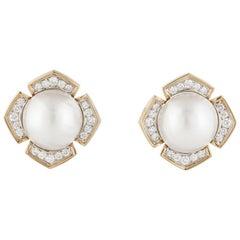 Mabe' Pearl Diamond Yellow Gold Earrings