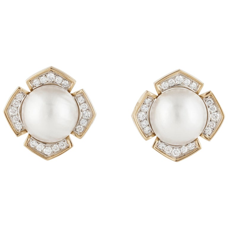 Mabe' Pearl Diamond Yellow Gold Earrings For Sale