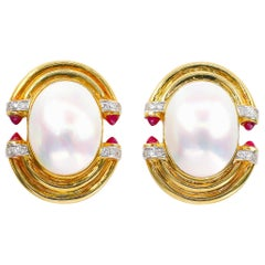 Mabe Pearl Earrings with Diamonds 0.40 Carat and Rubies 0.60 Carat 18 Karat Gold