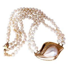 Mabe Pearl Fresh Water Double Stranded Bead Necklace 14 Karat