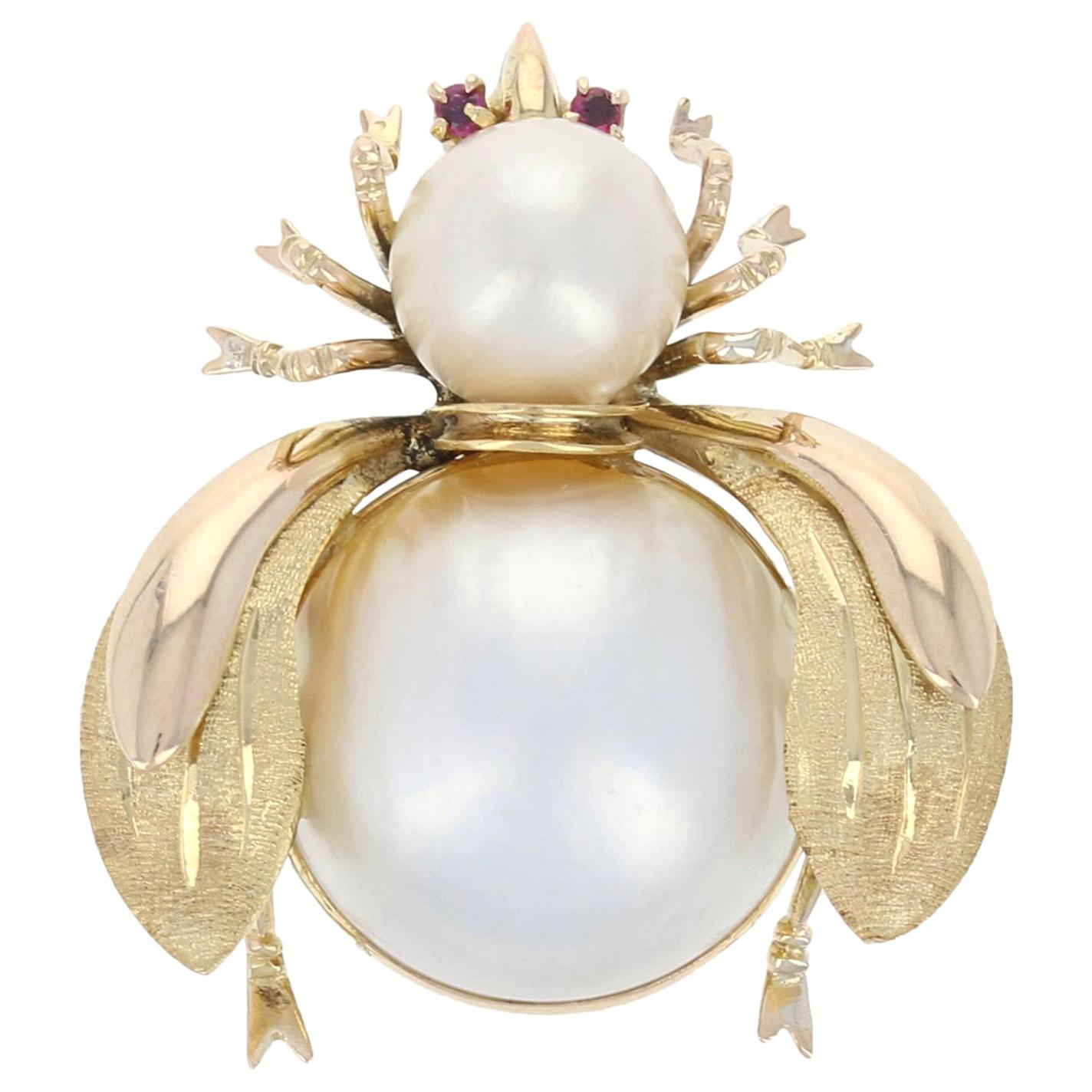Mabe Pearl, Pearl, and Ruby Insect Brooch, 14 Karat Yellow Gold Pin