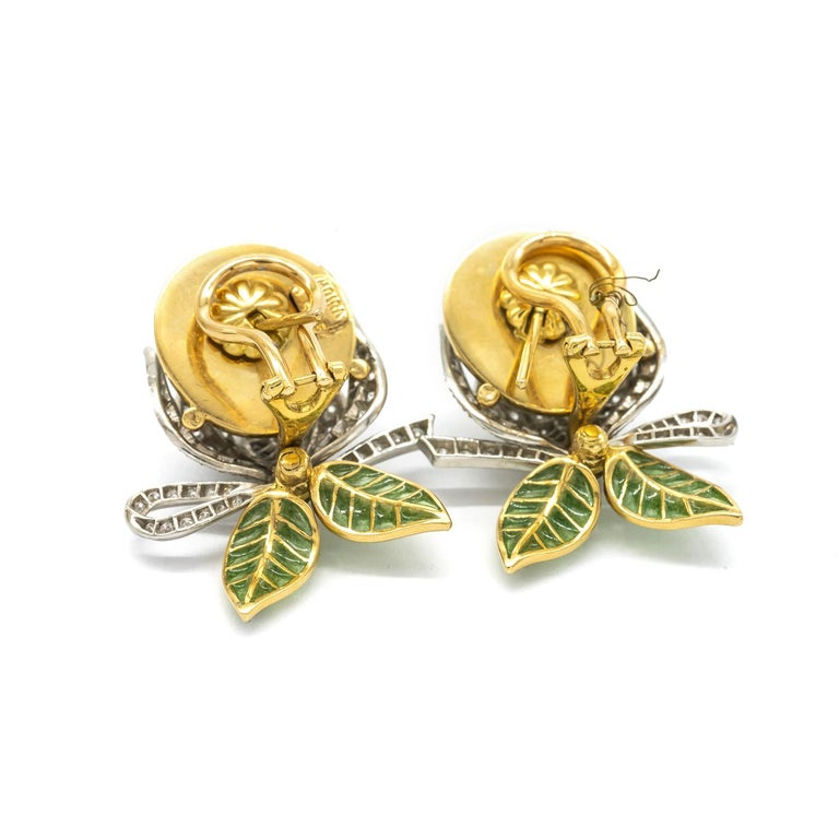 Women's Mabe Pearl Plique-à-Jour Enamel Bud Flower Earrings For Sale