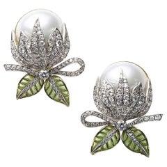 Mabe Pearl Plique-à-Jour Enamel Bud Flower Earrings