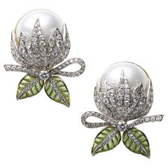 Mabe Pearl Plique-à-Jour Enamel Bud Flower Earrings