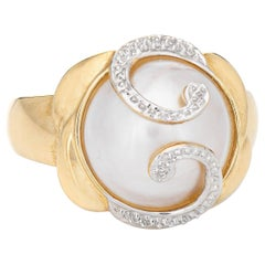 Mabe Pearl Ring Vintage 14k Yellow Gold Estate Fine Cocktail Jewelry