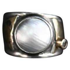 Mabe Pearl Silver and 14-Karat Gold Ring