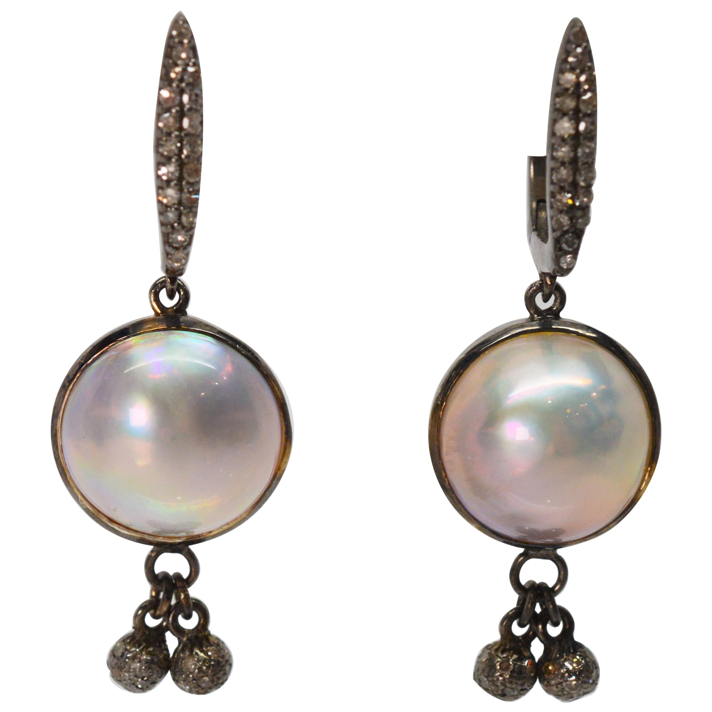 Mabe Pearl Sterling Silver Diamond Drop Earrings