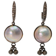 Mabe Pearl Sterling Silver Diamond Drop Earrings