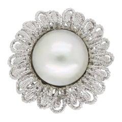 Mabe Pearl Sunflower Ring in 14 Karat