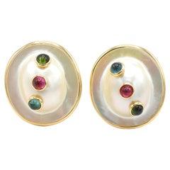 Mabe Pearl & Tourmaline 14 Karat Yellow Gold Clip Earrings