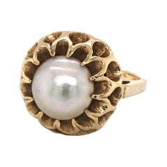 Mabe Pearl Yellow Gold Flower Cocktail Ring