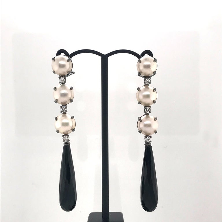 Mabe South Sea Pearls Pearl 6 Diamonds 0,420 Color G purity Vs Natural Agathe  Black Gold 5 grams Chandelier Earrings Can be adapted to ear not pierced