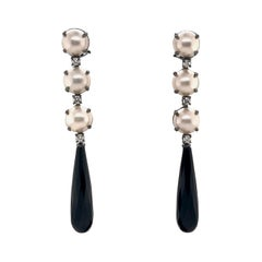 Mabe South Sea Pearls, Diamonds with Agate on Black Gold 18k Chandelier Earring
