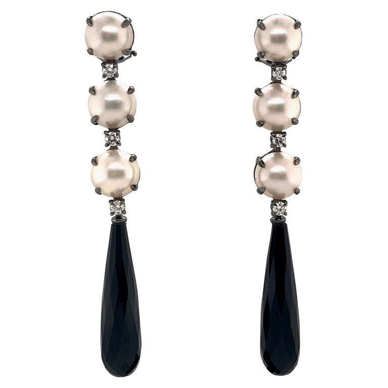 Mabe South Sea Pearls, Diamonds with Agate on Black Gold 18k Chandelier Earring For Sale