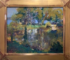 The Pond, Landscape with house, New Mexico artist, signed, 1940s, Period frame