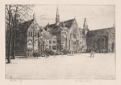 St Paul's School, London, signed etching by Mabel Oliver Rae, circa 1920