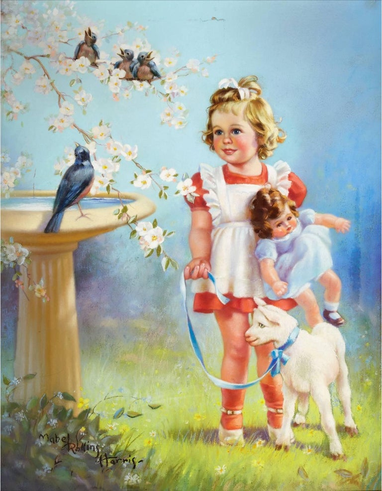 MABEL ROLLINS HARRIS Figurative Painting - Springtime Melody - Young Girl with Baby Lamb and Birds