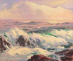 'After Glow, Laguna Beach', California Woman Artist, Sunset Seascape, La Jolla