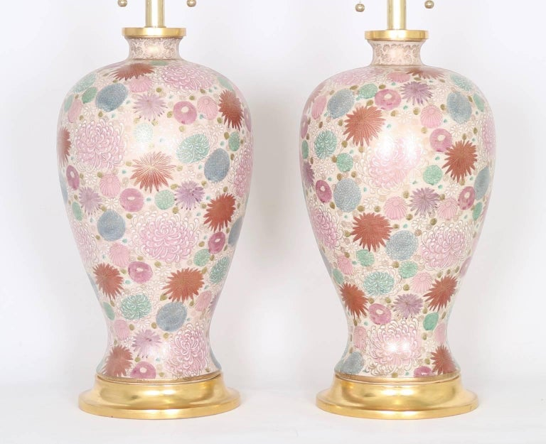 Gilt Mabro Hollywood Regency Japanese Chrysanthemum Table Lamps For Sale