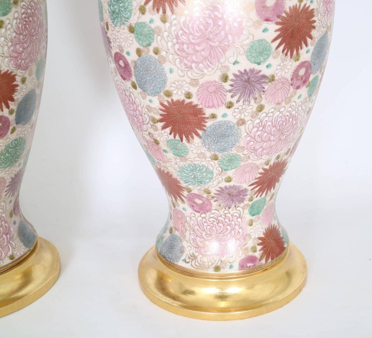 Mabro Hollywood Regency Japanese Chrysanthemum Table Lamps In Excellent Condition For Sale In New York, NY