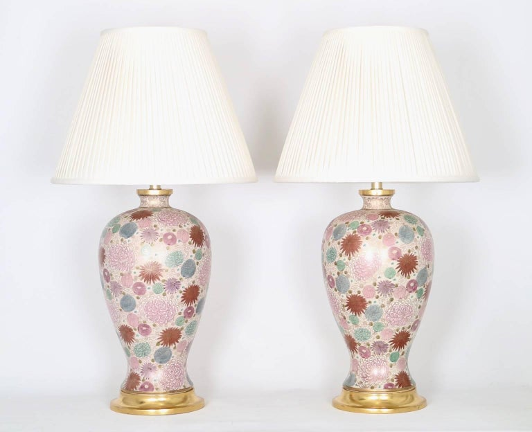 Mid-20th Century Mabro Hollywood Regency Japanese Chrysanthemum Table Lamps For Sale