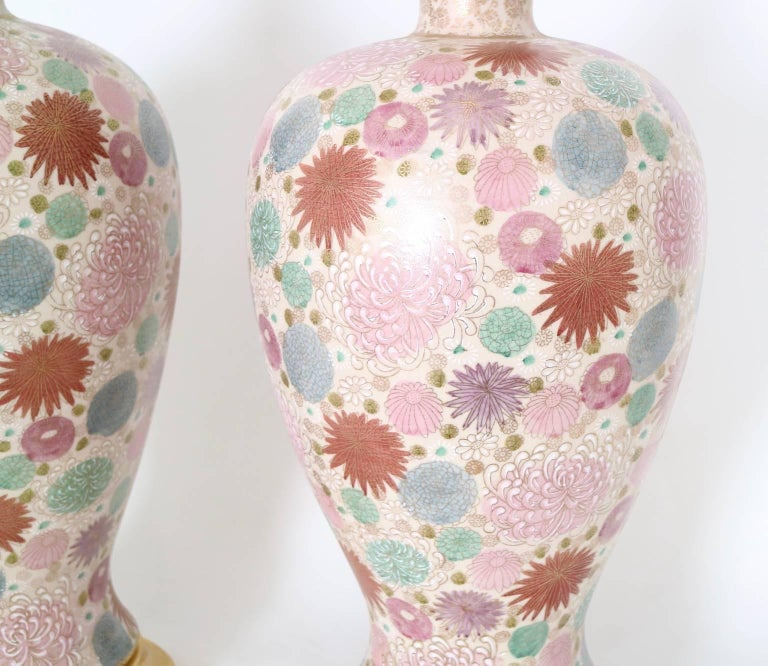 Wood Mabro Hollywood Regency Japanese Chrysanthemum Table Lamps For Sale