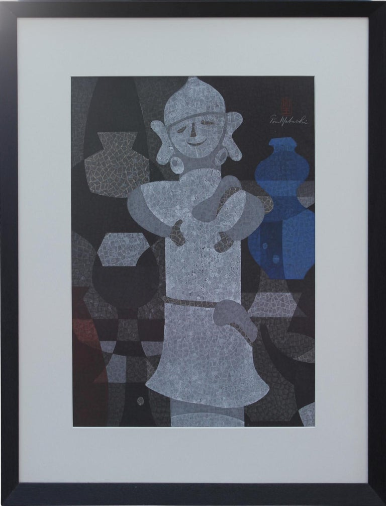 """Mabuchi Toru  Portrait Print - """"Earthenware And Haniwa"""" Japanese Woodblock Print"""