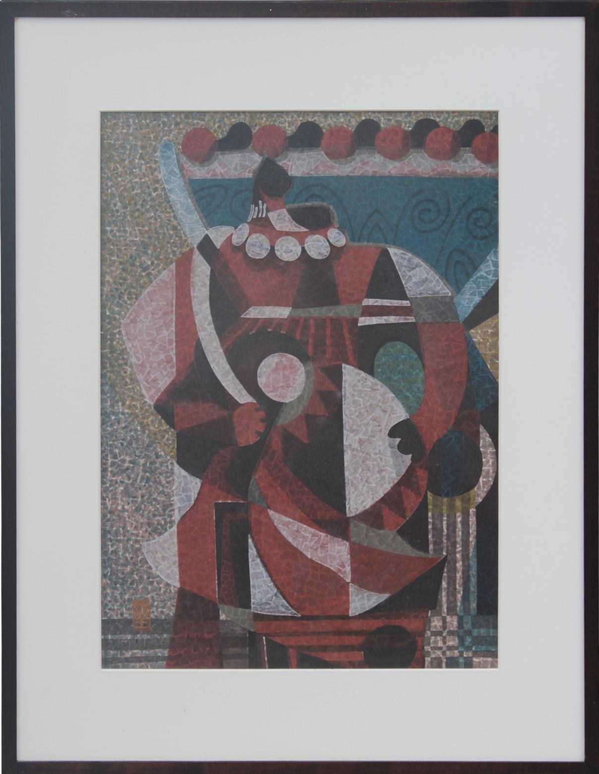 Figure Holding A Drum Japanese Cubist Woodblock Print