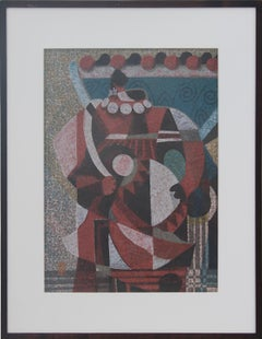Figure Holding A Drum Japanese Cubist Woodblock Print