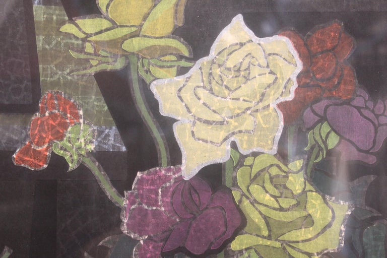 Japanese Wood Block Print Floral Still Life For Sale 1