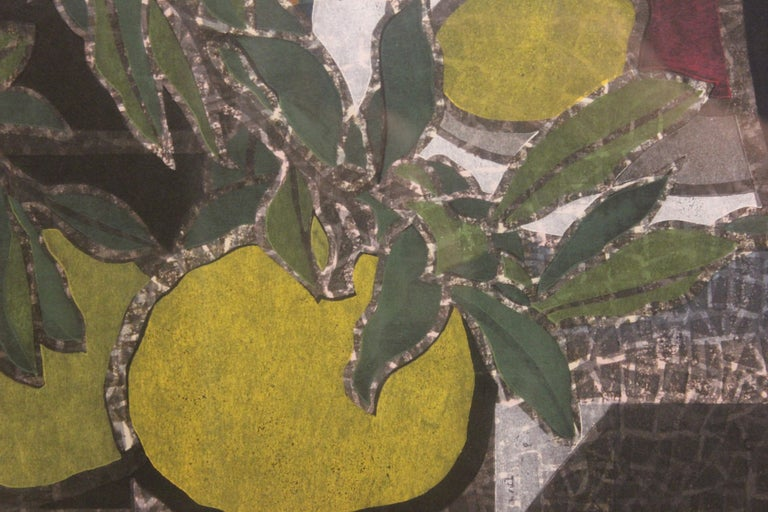 Japanese Wood Block Print Floral Still Life For Sale 2