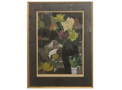 Japanese Wood Block Print Floral Still Life