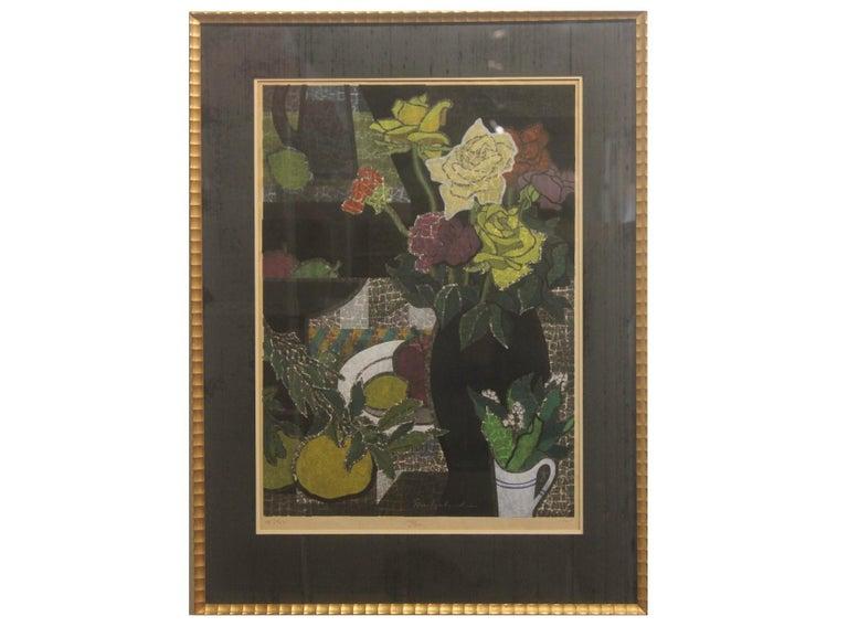 Mabuchi Toru  Still-Life Print - Japanese Wood Block Print Floral Still Life