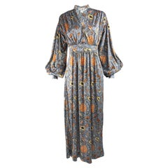 Mac Tac 1970s Vintage Puffed Sleeve Maxi Dress