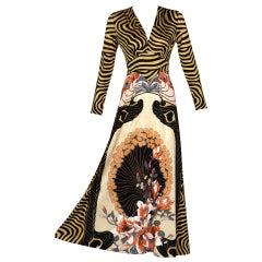 Mac Tac of Paris Jersey Print  Maxi Dress, 1970s