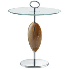 Macari Side Table in Corno Italiano, Glass and Stainless Steel, Mod. 1870