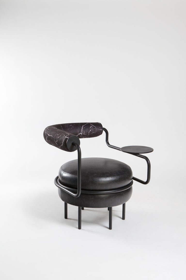 Turkish Macaron, One Armed Mid-Century Modern Leather Chair For Sale