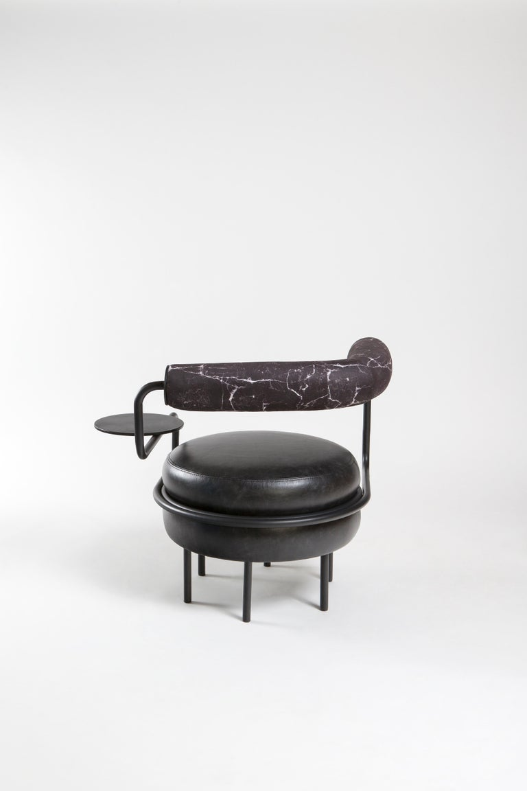 Macaron, One Armed Mid-Century Modern Leather Chair In New Condition For Sale In Istanbul, TR