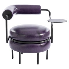 Macaron, One-Armed Mid-Century Modern Leather Chair