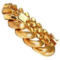 Macaroni Slant Link Bracelet 14 Karat Shine and Brushed