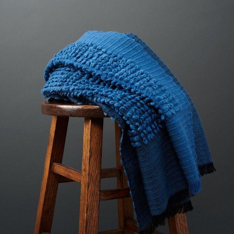 Nepalese Macaroon Midnight Plush Handloom Throw or Blanket in Dark Blue Shades For Sale