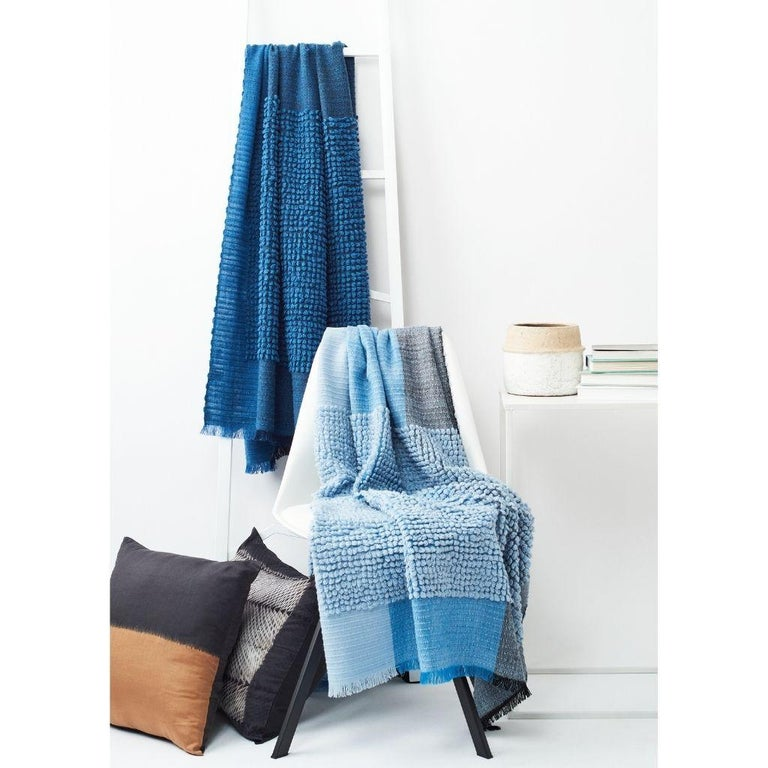 Contemporary Macaroon Midnight Plush Handloom Throw or Blanket in Dark Blue Shades For Sale