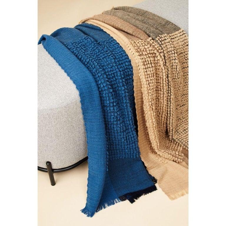 Yarn Macaroon Midnight Plush Handloom Throw or Blanket in Dark Blue Shades For Sale