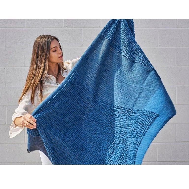 Macaroon Midnight Plush Handloom Throw or Blanket in Dark Blue Shades For Sale 3