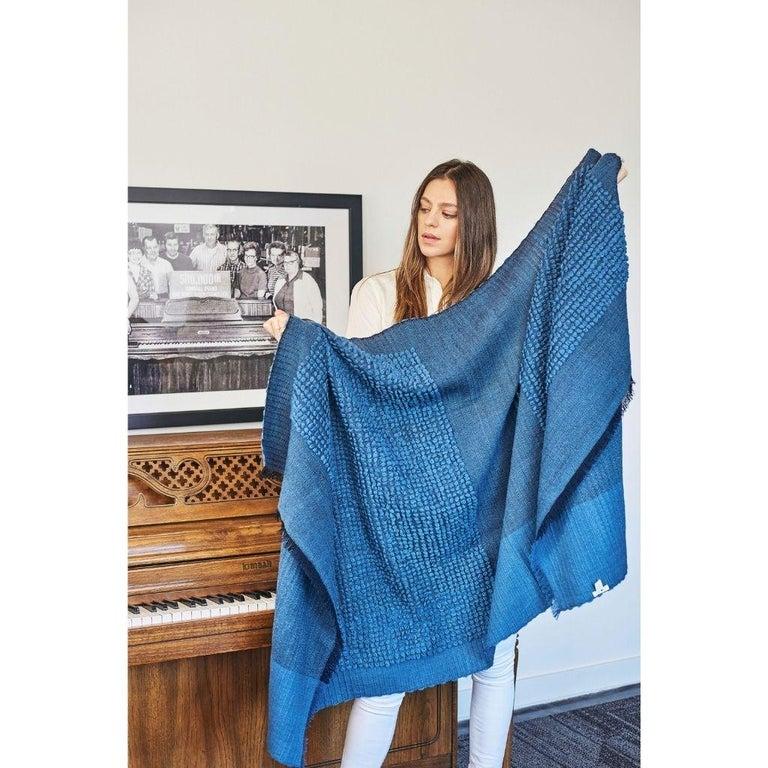 Macaroon Midnight Plush Handloom Throw or Blanket in Dark Blue Shades For Sale 4
