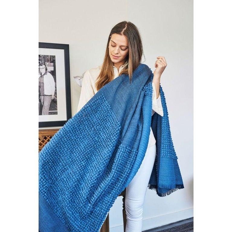 Modern Macaroon Midnight Plush Handloom Throw or Blanket in Dark Blue Shades For Sale