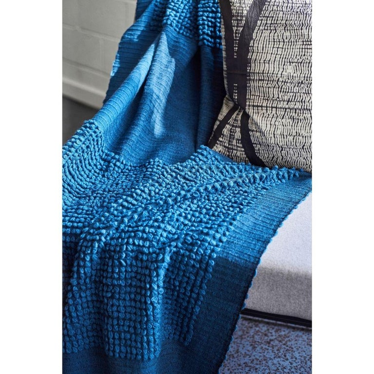 Hand-Woven Macaroon Midnight Plush Handloom Throw or Blanket in Dark Blue Shades For Sale