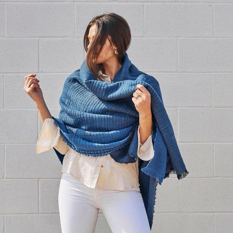 Macaroon Midnight Plush Handloom Throw or Blanket in Dark Blue Shades In New Condition For Sale In Bloomfield Hills, MI